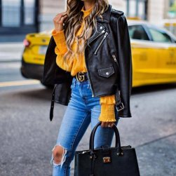 fw7n4v-l-610x610-jacket-tumblr-black jacket-black leather jacket-leather jacket--yellow-yellow-belt-gucci-gucci bag-logo belt-ba